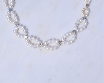 Ivory Freshwater Pearl & Sterling Silver Collar Necklace