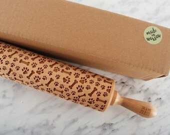 DOGS' PAW - embossed, engraved rolling pin for cookies