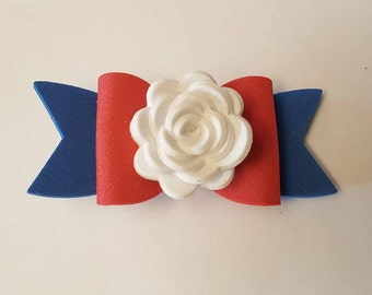 4th of July Foam Hair Bow with Flower/ Red White & Blue Bow