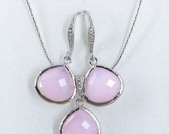 Pink Jewelry Set, Bridesmaids Jewelry, Pink Blush Necklace, Bridesmaids Gift, Pink Necklace, Wedding Jewelry