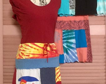 Custom Upcycled Miniskirt made from YOUR Favorite T-Shirts!  All sizes.