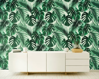 Banano Leaves - Wallpaper - Banana Leaf - Removable Wallpaper - Peel & Stick - Self Adhesive Fabric - Temporary Wallpaper - SKU: BALEV
