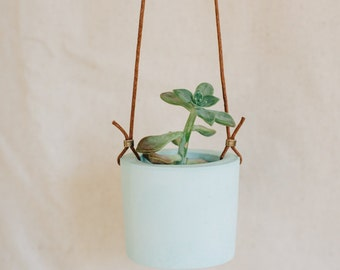 Mint cement hanging planter
