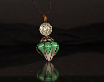 Green apple flower pendant-handmade gift, modern style jewelry resin cooper quartz gemstone