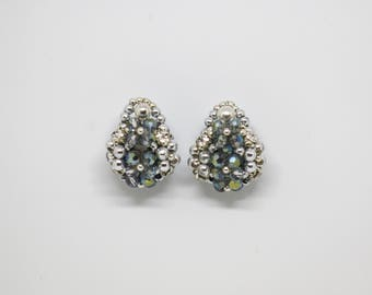 beaded stud earrings crystal rhinestone silver green rose