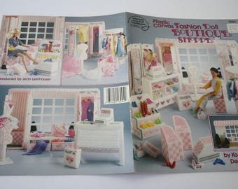 PLASTIC Canvas Barbie Doll /Fashion Doll Boutique Shop Pattern Booklet, American School of Needlework, 3094, by Kooler Design Studio, 1991