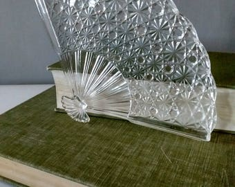 Vintage glass serving dish, fan dish, etched glass plate
