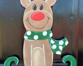 Reindeer-LuLu Original-Door Hanger-Christmas-Door Decor-Front Door-Holidays-North Pole-Wooden Sign-Wood Sign-Rudolph-Scarf-Elf Shoes