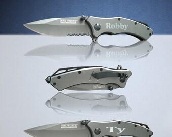 2 Personalized Knifes - 2 Custom engraved Gun Metal Grey Tactical knife - Titanium coated laser engraved gift - Birthday gift - Wedding gift