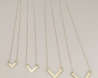 Chevron necklace in four different sizes, sterling silver