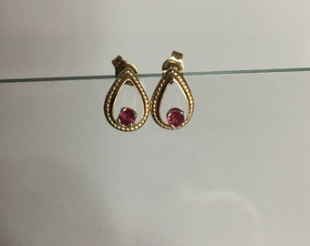 Ruby  earrings, vintage, dainty solid 14k yellow gold, genuine ruby, July birthstone