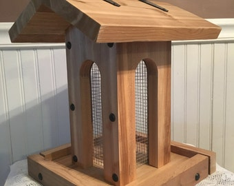 Tall arches cedar bird feeder with black hardware