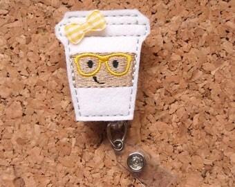Badge Reels, Nerd COFFEE Badge Reel, Geeky FELT Badge Reel, Retractable ID Name Holder, Nurse Badge,  Teacher Gift, Yellow 1249