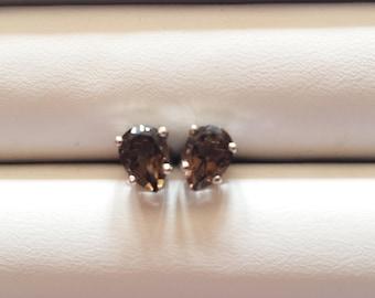 Smoky Topaz Earrings, Smoky Topaz Sterling Silver Earring, Rhodium Plated, Natural Gemstones, Smoky Topaz Studs