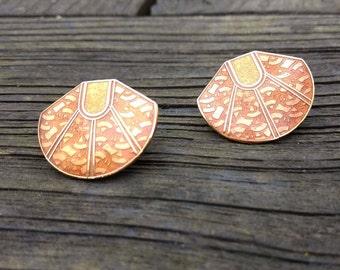 Vintage Earrings - Cloisonne Jewelry - Orange - Gold