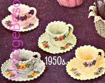 INSTANT DOWNlOAD - PdF Pattern - Tea Cup Crochet PATTERN Vintage 1950s Crochet Tea Cup and Tea Saucer Crochet Pattern  Vintage Beso