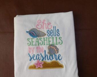 She Sells Seashells by the Seashore shirt, Beach Shirt, Embroidery Shirt, Beach Life, Seashells, Seashore