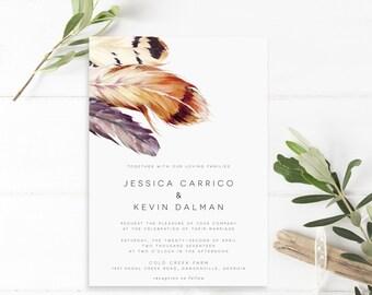 Printable Wedding Invitation, Invitations, Feather, Boho, Printable Invitation, Wedding Invitation Suite, Wedding Invites, PDF, The Jessica