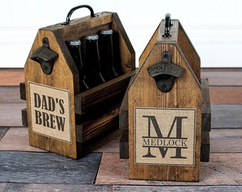Personalized Beer Carrier - Personalized Beer Opener - Personalized Groomsmen Gift - Personalized Fathers Day Gift - Dads Gifts -