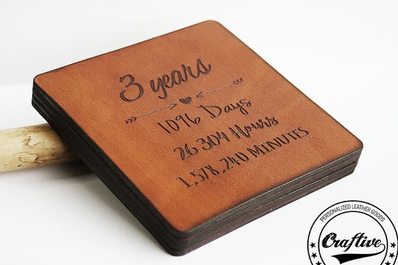 Gift For 3rd Wedding Anniversary: 3rd Anniversary Gift Leather 3 Year Anniversary By