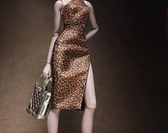 "SALE!! Leopard Dress for 12"" dolls/ barbie/ silkstone/ fashion royalty"
