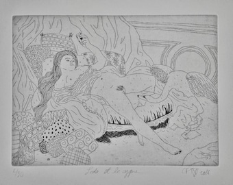 """ETCHING / JAPANESE PRINT / Collection """"BigNana"""" / Léda and the swan by CFTurcas"""