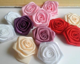 Satin roses, 1.5 in, 4 cm,  ribbon flowers, craft flowers, ribbon roses and flowers