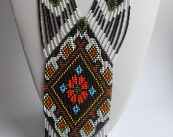 Ukrainian beaded jewelry Ukrainian embroidery Gerdan Ukrainian gift folk necklace Long necklace Traditional Ukrainian jewelry Ukraine folk