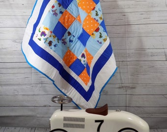 Dinosaur Baby Quilt, Baby Quilt, Baby Blanket, Patchwork, Baby Boy Quilt, Dinosaur Blanket, Baby Boy Blanket, Blue Baby Quilt Blue Cot Quilt