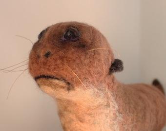 "Needle Felted Sad Otter ""Bad Taxidermy"", needle felt bad taxidermy, needle felt sad otter, felt bad taxidermy, felt otter, fake taxidermy"