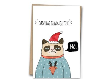 Christmas Card Grumpy Cat Funny Greetings Card A6 Holiday Card Christmas Greetings Card Funny Christmas Card Humor Card | Blank Inside