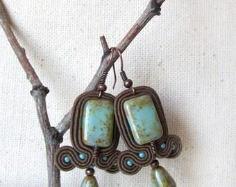 Brown teal earrings Boho chic Everyday earrings Soutache earrings Minimalist earrings Rectangle earrings Earth tone Bohemian earrings gift