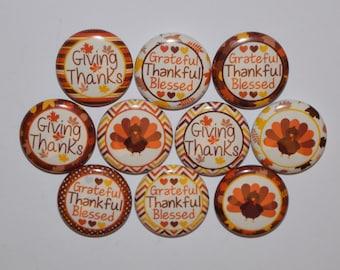"Thanksgiving   bottlecap image 1"" buttons, flatback, pin, or magnet. Set of 10"