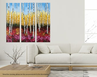 Aspen tree art, Forest Painting, Large Oil painting, Birch tree, Birch Painting, Palette knife, Textured art, Multi panel art, Birch decor