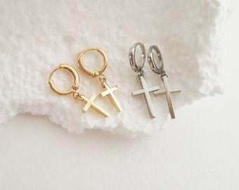 Gold Cross Earrings, Silver Cross Hoop Earrings, Baptism Cross Shape Hoops, Minimalistic Cross Charm Earrings, Rock / E519