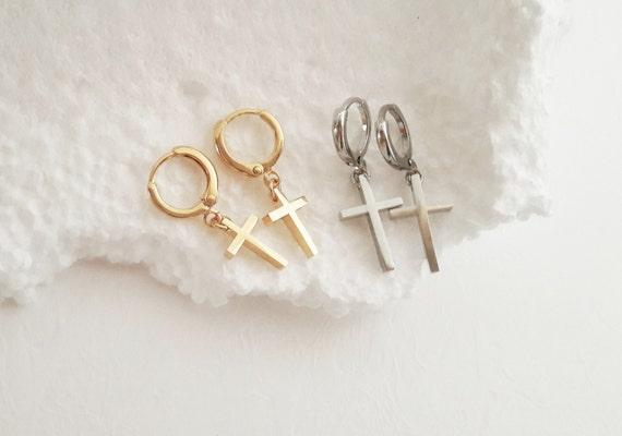 Gold Cross Earrings Silver Cross Hoop Earrings X Earrings