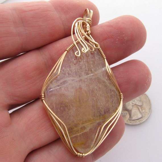 Golden rutilated quartz wire wrapped cab golden rutile for Golden rutilated quartz jewelry