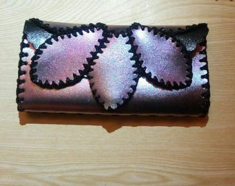 Leather womens wallet, Leather wallet, Gifts for women, Gift for her, Crochet wallet,Original wallet, Handmade wallet, Made in italy.