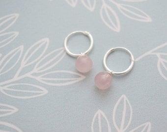 Rose Quartz Hoop Earrings, Small Pink Quartz Hoop Earrings, Sterling Silver Pale Pink Gemstone Earrings, Pastel Pink Round Bead Earrings