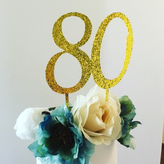 Cake Toppers Birthday Etsy : Items similar to 80th birthday cake topper . eighty gold ...