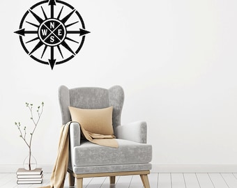 Compass Wall Decal - Nautical - Compass Wall Decal Vinyl Stickers - Nautical Decor - Nautical Compass Wall Decal - Compass Wall Art - Compas
