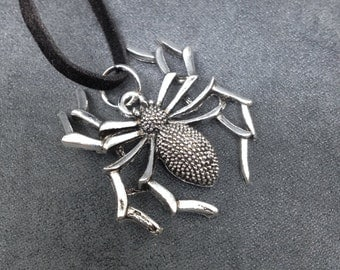 Spider Jewelry, Spider Pendant Necklace, Silver tone metal spider on genuine suede cord, Spider lovers necklace