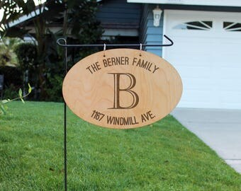 Personalized Wood Garden Flag, Custom Family Yard Sign, Family Name Sign, Wood Hanging Family Name Sign, Chalk Wood Sign --hngw-oval-berner