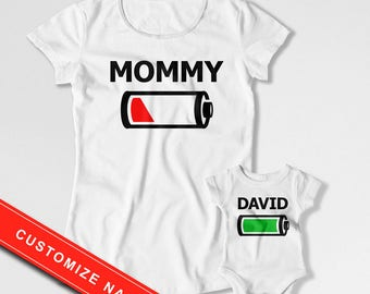 Mommy And Me Clothing Mother And Son Matching Outfits Mom And Daughter Gift Matching Family T Shirts Bodysuit Battery Empty Full MAT-709-708