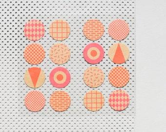 32 kraftpaper stickers, round stickers, sticker seals, geometric pattern, sticker gift wrap