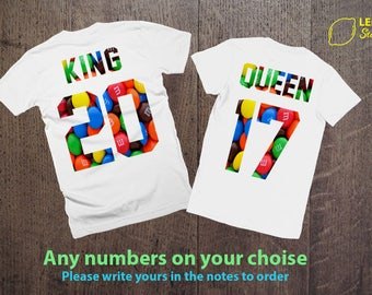 """What is your number? Shirts for couples Custom """"King"""" and """"Queen"""",  Price per 1 T-shirt, King Queen Matching Shirts Matching Couple tees"""