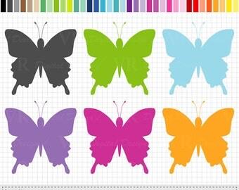 Rainbow Spring Butterfly Clip Art, Butterflies Clipart, Butterfly Silhouette Planner Stickers Clipart, Digital Download Vector