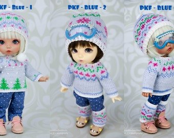 Winter sets for pukifee (hat, trousers, sweater, leg warmers, ski goggles) 1/8  BJD dolls