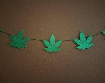 Marijuana Leaf Banner Garland - Mary Jane Decor, 420 Party Decor, Pot Decorations