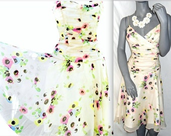 Vintage 1990s Betsey Johnson Multi Color/WHITE Floral V-Neck Spaghetti Strap Knee Length Sun Dress 6